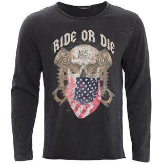 King Kerosin Vintage Langarm Shirt - Ride Or Die Schwarz