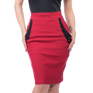 Steady Clothing High-Waist Pencil Skirt - Sail Away Red