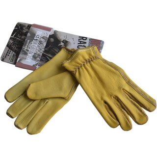 King Kerosin Leder Biker Handschuhe - Work Glove Goldgelb