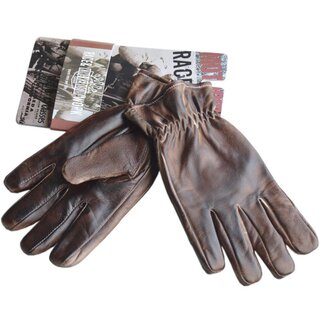 King Kerosin Leather Biker Gloves - Work Glove Faded Brown