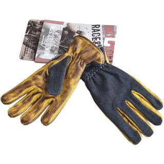 King Kerosin Leder Biker Handschuhe - Work Glove Denim To...