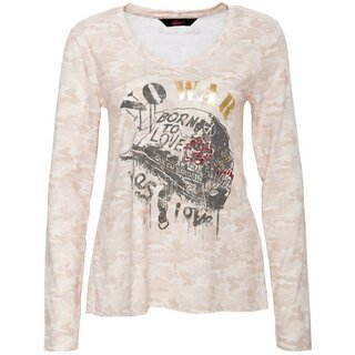 Queen Kerosin Langarm Shirt - Born To Love Beige