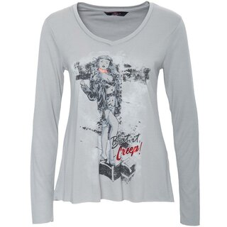 Queen Kerosin Langarm Shirt - Cry Baby Grau