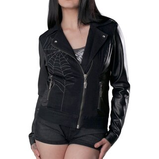 Hyraw Ladies Faux Leather Denim Jacke - Metal