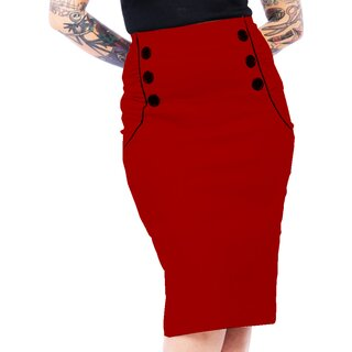 Steady Clothing High-Waist Bleistiftrock - Vivian Wiggle Rot