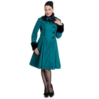Hell Bunny Vintage Coat - Angeline Teal