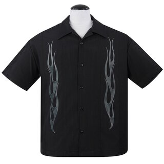 Steady Clothing Vintage Bowling Shirt - Flame N Hot Black