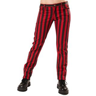Black Pistol Jeans Trousers - Close Pants Stripe Red