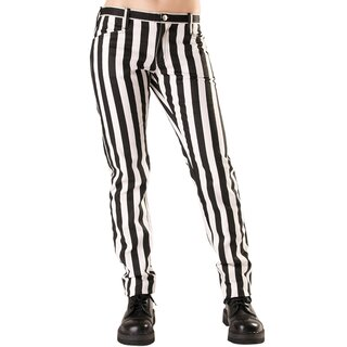 Black Pistol Jeans Hose - Close Pants Stripe Weiß