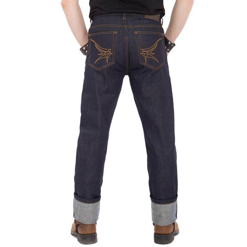 king kerosin jeans hose authentic selvedge dunkelblau. Black Bedroom Furniture Sets. Home Design Ideas