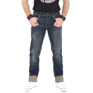 King Kerosin Jeans Trousers - Farmer Destroyed Coffee