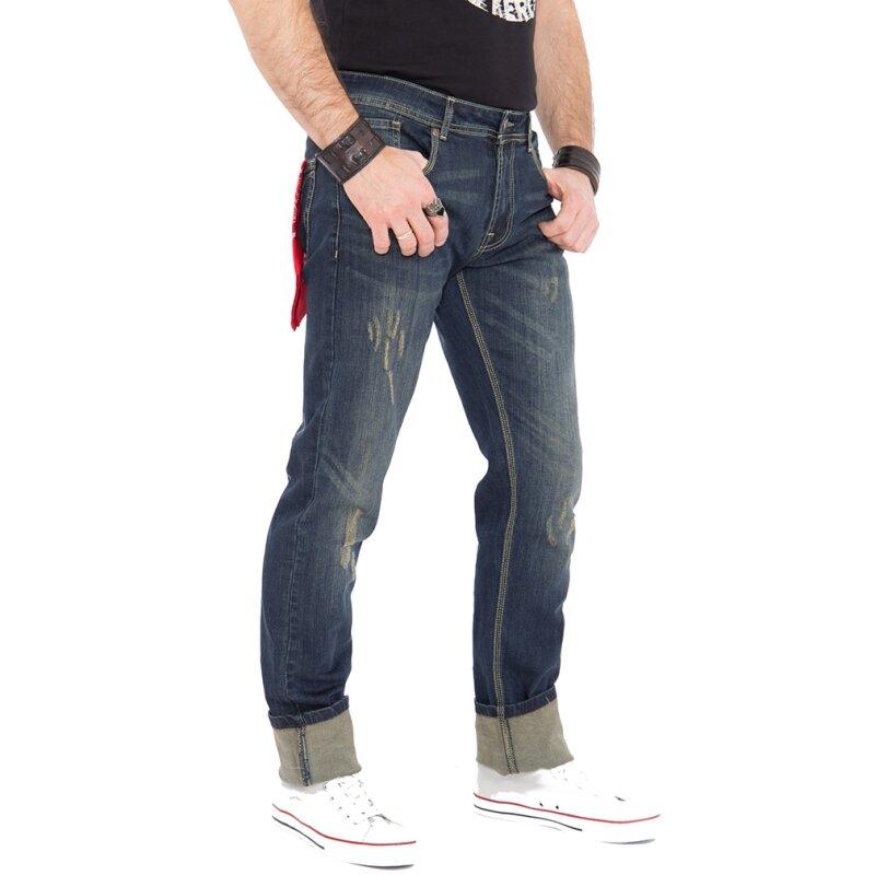 king kerosin jeans hose farmer destroyed coffee w38. Black Bedroom Furniture Sets. Home Design Ideas