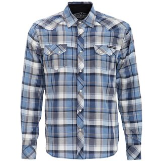 King Kerosin langarm kariertes Hemd - Plaid Shirt Royal
