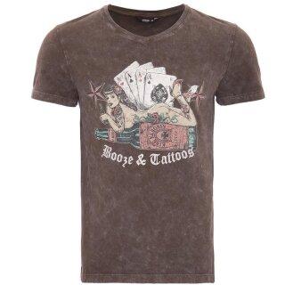 King Kerosin Vintage T-Shirt - Booze & Tattoos Braun