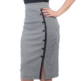 Steady Clothing High-Waist Pencil Skirt - Sarina Houndstooth