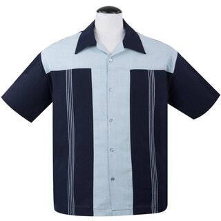 Steady Clothing Vintage Bowling Shirt - The Oswald Navy Blue