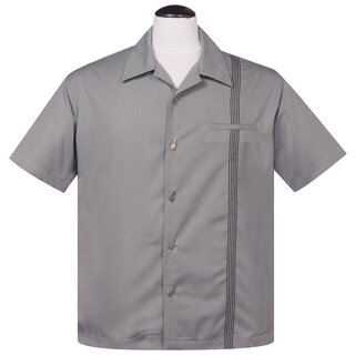 Steady Clothing Vintage Bowling Shirt - The Six String Grey