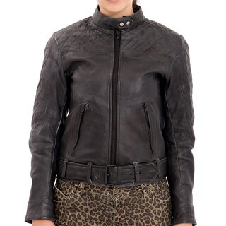 Queen Kerosin Leather Biker Jacket - Kontrast Black