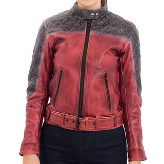 Queen Kerosin Leather Biker Jacket - Racing Burgundy