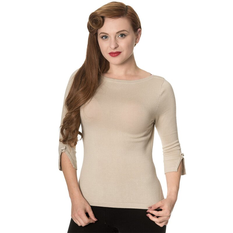 Banned Vintage Damen Pullover - Addicted Sweater Beige M