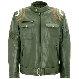 King Kerosin Biker Leather Jacket - Racer Stripes Olive