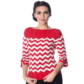 Dancing Days Knit Jumper - Vanilla Top Red