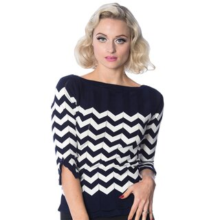 Dancing Days Knit Jumper - Vanilla Top Navy Blue