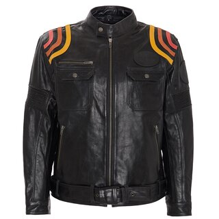 King Kerosin Biker Leather Jacket - Cafe Racer Black