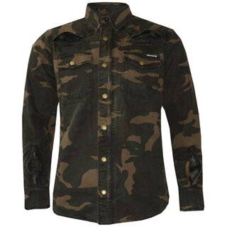 King Kerosin Biker Canvas Shirt - Speedshirt Air Camouflage