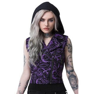Killstar Cropped Biker Vest - Miss Morbid