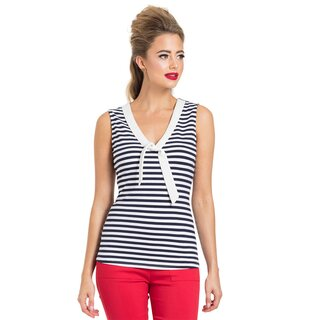 Voodoo Vixen Vintage Top - Haili Nautical Stripe Dunkelblau