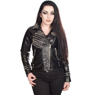 Black Pistol Ladies Faux Leather Biker Jacket - Rockers