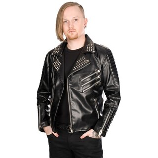 Black Pistol Faux Leather Biker Jacket - Rockers