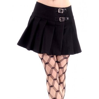 Black Pistol Pleated Mini Skirt - Buckle Mini Denim