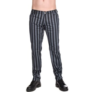 Black Pistol Jeans Trousers - Close Pants Stripe Grey