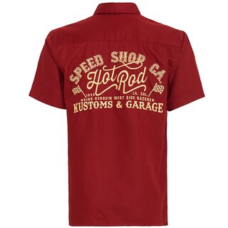 King Kerosin Vintage Worker Shirt - Speed Shop CA Red