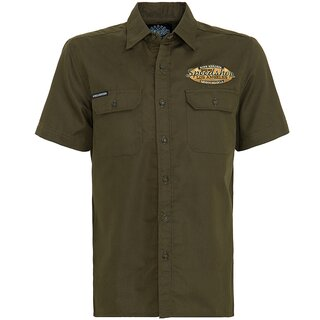 King Kerosin Vintage Worker Shirt - Speedshop Olive