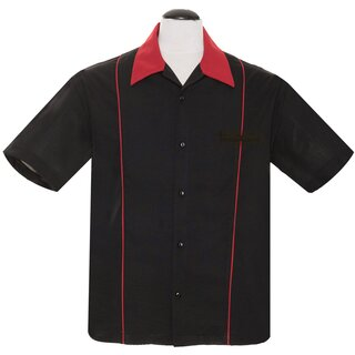 Steady Clothing Vintage Bowling Shirt - The Shuckster Black