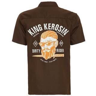 King Kerosin Vintage Worker Hemd - Dirty Rider Braun