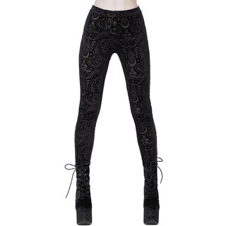 Killstar Velvet Burnout Leggings - Saiph Black