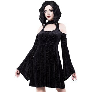 Killstar Velvet Burnout Skater Dress - Vela Black