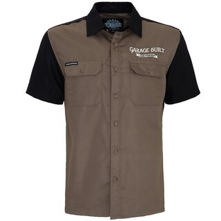 King Kerosin Vintage Worker Shirt - Home Made Khaki
