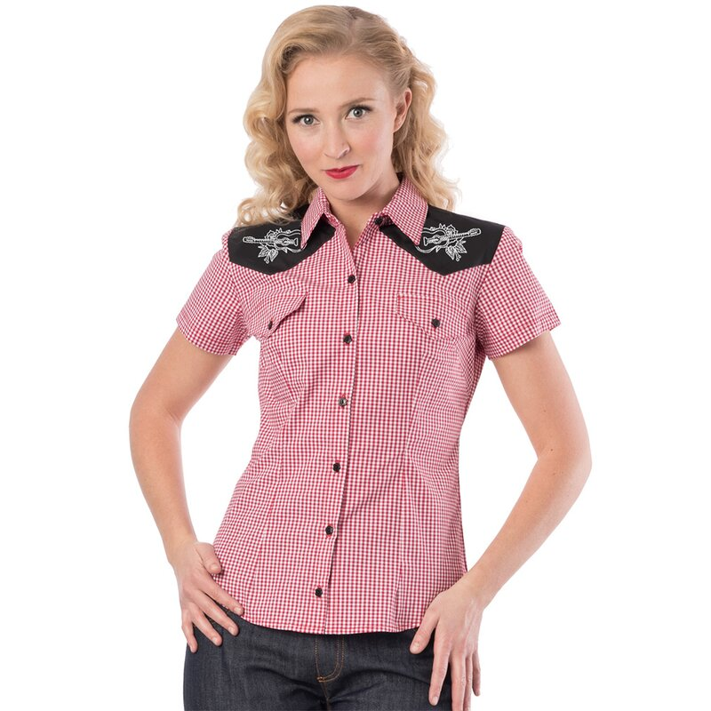 Steady Clothing Western Bluse - Rockabilly Rose Rot S