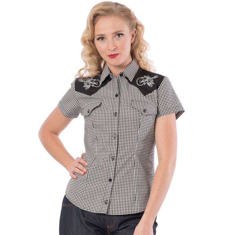 Steady Clothing Western Bluse - Rockabilly Rose Schwarz XXL