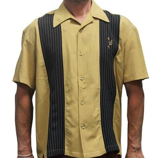 Steady Clothing Vintage Bowling Shirt - Kings Road Mustard
