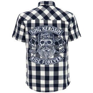 King Kerosin Short Sleeve Flannel Shirt - Ride Forever Blue