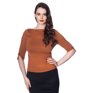 Banned Vintage Ladies Jumper - Addicted Sweater Brown
