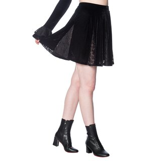 Banned Velvet Mini Skirt - Poison