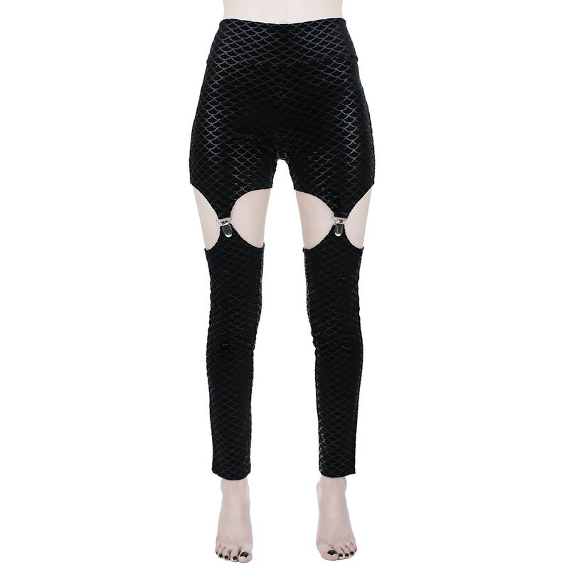 Killstar Velvet Suspender Leggings - Black Sea Suspender