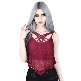 Killstar Lace Strappy Top - Deadly Beloved Wine